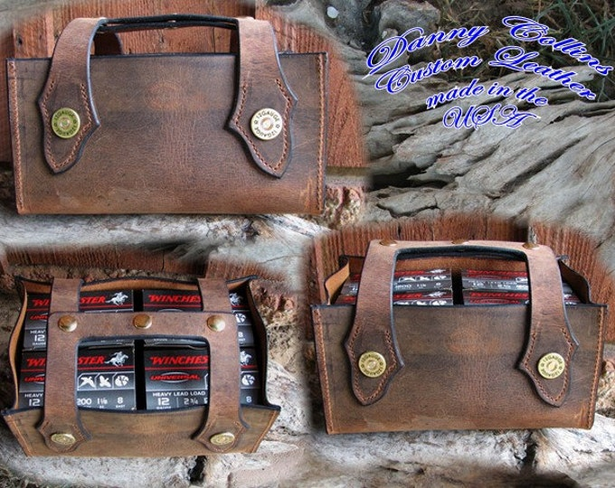 Four or six box shotgun shell carrier, Leather shotgun shell carrier, Ammo Caddy