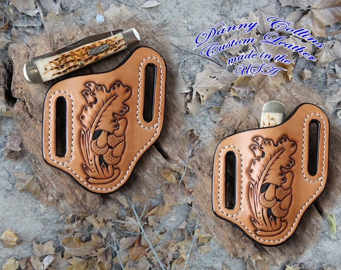 Hand Tooled Knife Sheath, Case Trapper Sheath, Custom Knife Sheath
