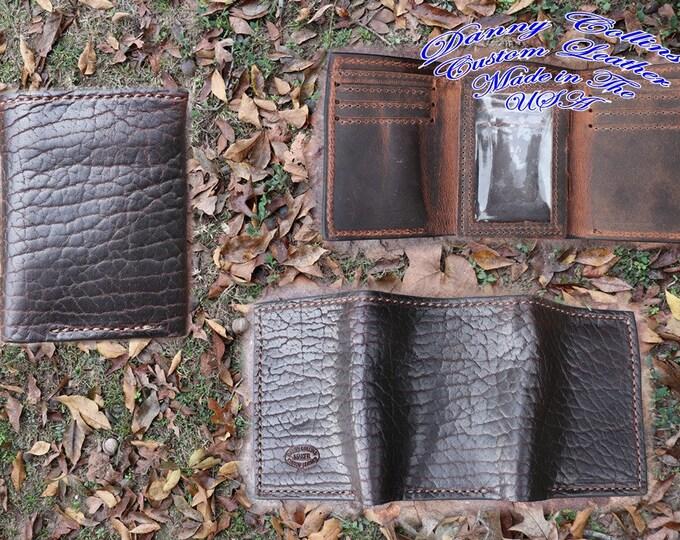 Shrunken Bison Tri fold wallet, Leather Wallet, Mens Wallet
