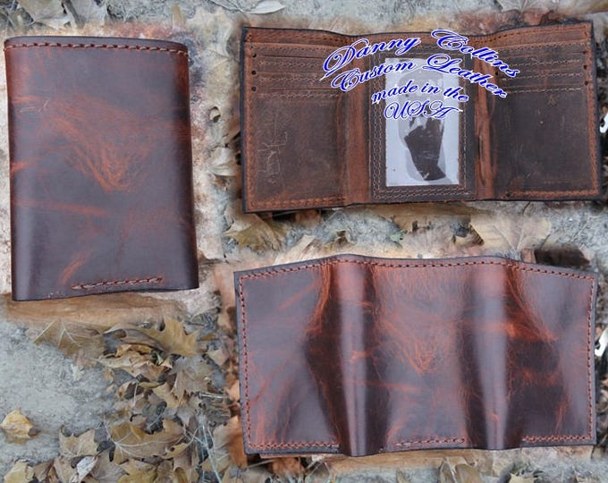 Bison leather Tri fold wallet, Leather Tri Fold, Mens Wallet
