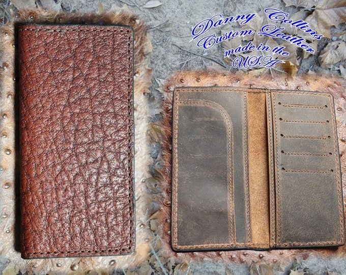 Shrunken Bull Hide Roper Wallet, Checkbook Wallet, Leather wallet