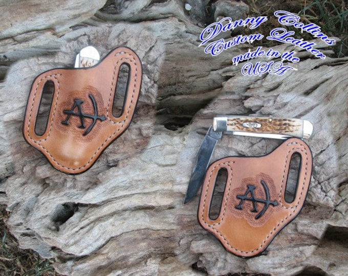 Personalized leather knife sheathes, Pancake knife sheaths, Custom knife sheaths