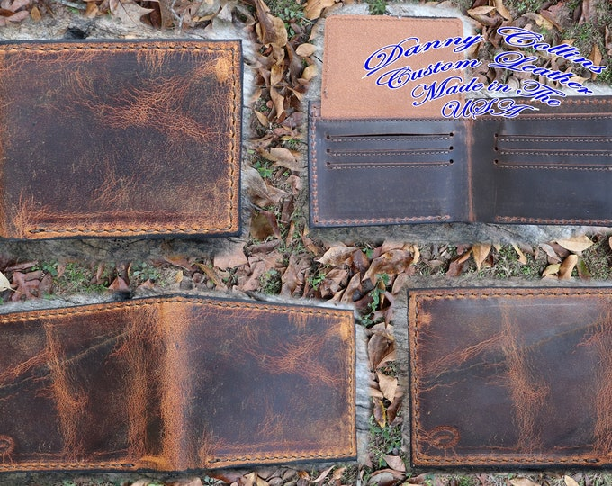 Badlands Elk Bi fold wallet, Leather Wallet, Mens Wallet, Elk Leather Wallet