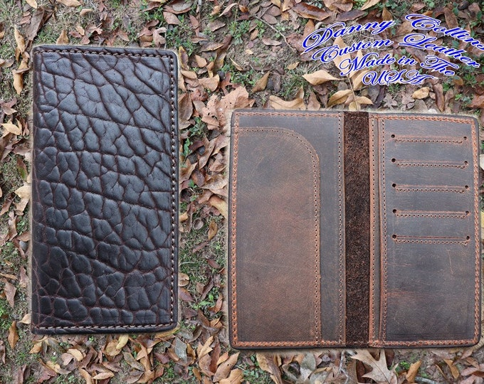 Shrunken Bison Checkbook Wallet, Bison Roper wallet, Bison Long Wallet, Leather Wallet, Mens Wallet