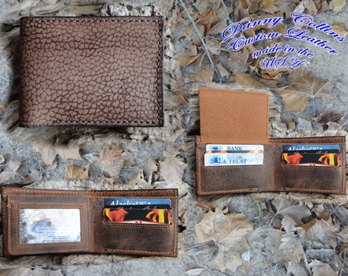 Genuine Camel leather wallet with ID window, Camel leather Bifold wallet
