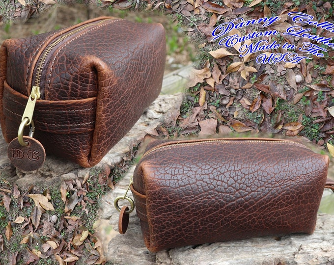 American Bison Dopp kit, Leather Shaving Bag, Leather Toiletry Bag