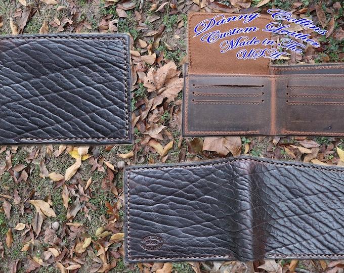 Buffalo Wallet, Shrunken American Bison Bi fold wallet, Leather Wallet, Mens Wallet