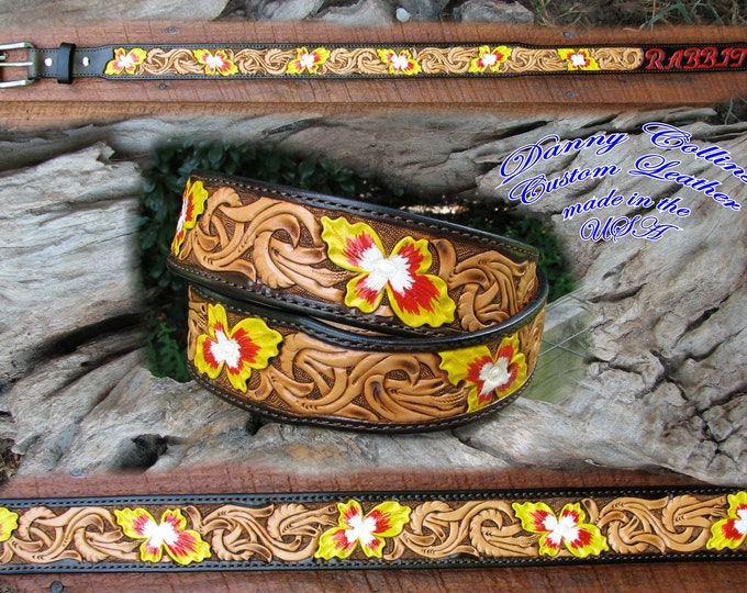 Tooled leather belts, Western Floral Belts, Hand Tooled Belts