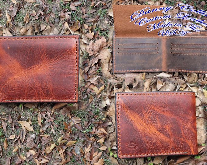 Bi-Fold Wallet With ID Window, Leather Bifold wallet, Men's Leather Bifold,  Distressed Leather Wallet