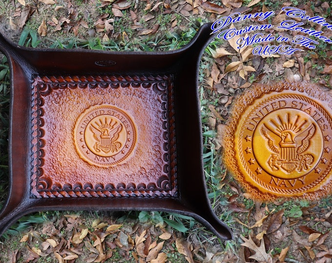 Service Branch Valet Tray, US Navy Valet Tray, Leather Valet Tray, Tooled leather Catchall, Tooled Leather Valet Tray