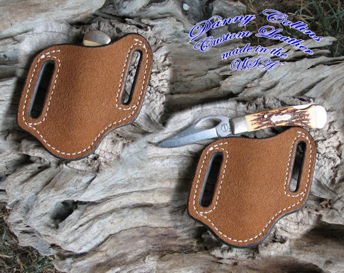 Rough out knife sheath, Pancake sheath, Case Mini Trapper knife sheath