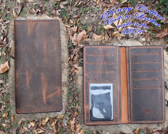 Buffalo leather Roper Wallet with ID window, Checkbook Wallet with ID window