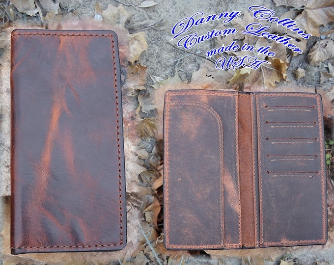 Bison Checkbook Wallet With, Bison Roper wallet, Bison Long Wallet, Leather Wallet, Mens Wallet
