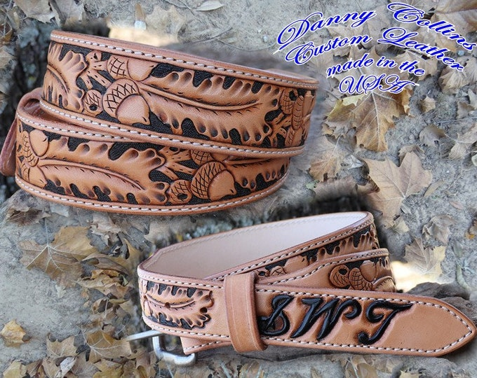 Tooled leather belts, Western Floral Belts, Hand Tooled Oakleaf and Acorn Belts