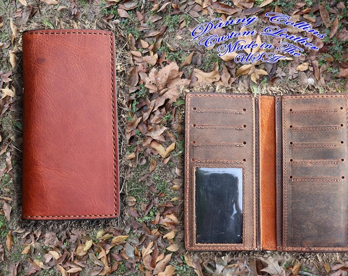 Leather Roper Wallet, Checkbook Wallet, Long wallet With ID Window