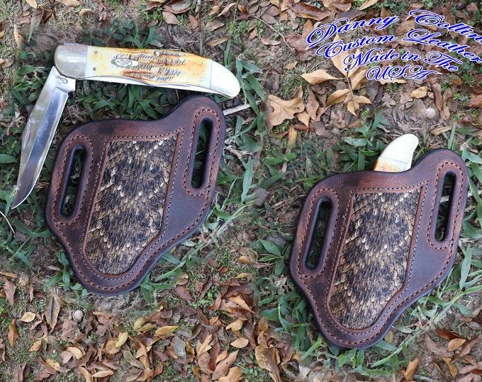 Buffalo and Rattlesnake Knife Sheath, Custom Knife Sheath, Pancake Sheath