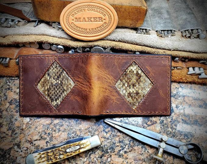 Badlands Elk Bi fold wallet with Rattlesnake Inlay, Leather Wallet, Mens Wallet, Elk Leather Wallet