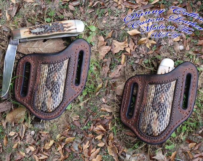 Case Trapper Buffalo Knife Sheath with Rattlesnake Inlay, Case Trapper Sheath.