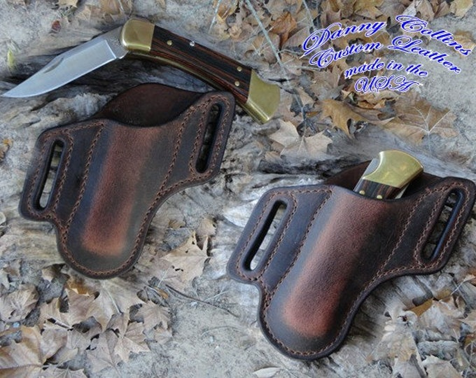 Buffalo Leather Knife Sheath/large folders like the Buck 110, Leather Knife Sheath