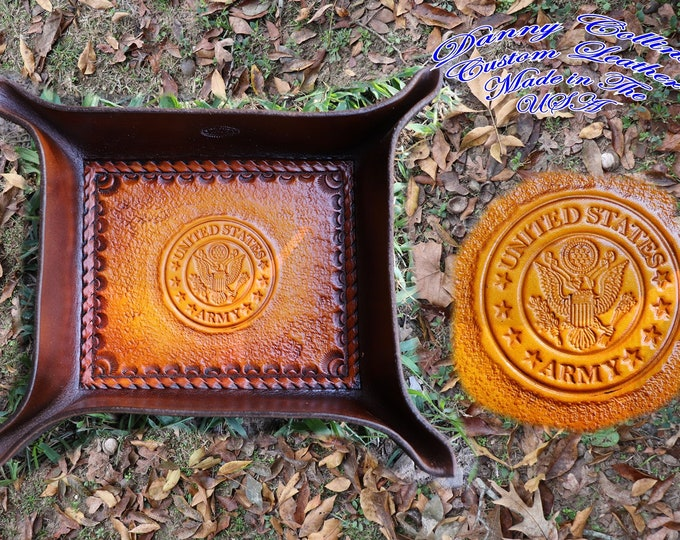 Service Branch Valet Tray, US Army Valet Tray, Leather Valet Tray, Tooled leather Catchall, Tooled Leather Valet Tray