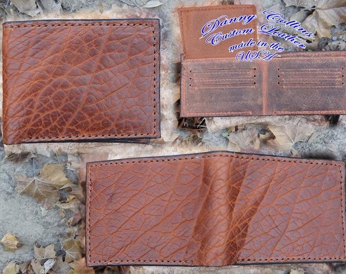 Shrunken Bison Bi fold wallet, Leather Wallet, Mens Wallet