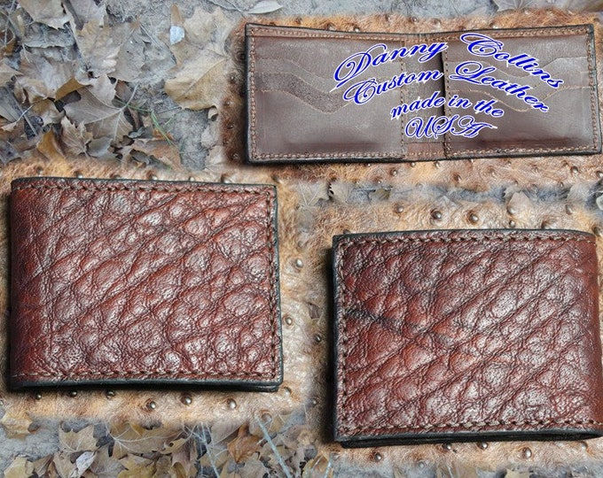 Shrunken Bull Hide leather Bi fold wallet, Bifold Wallet, Mens Wallet