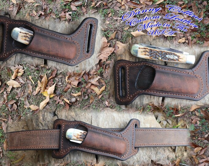 Case Trapper sheath, Buffalo leather Knife Sheath, Horizontal Knife Sheath