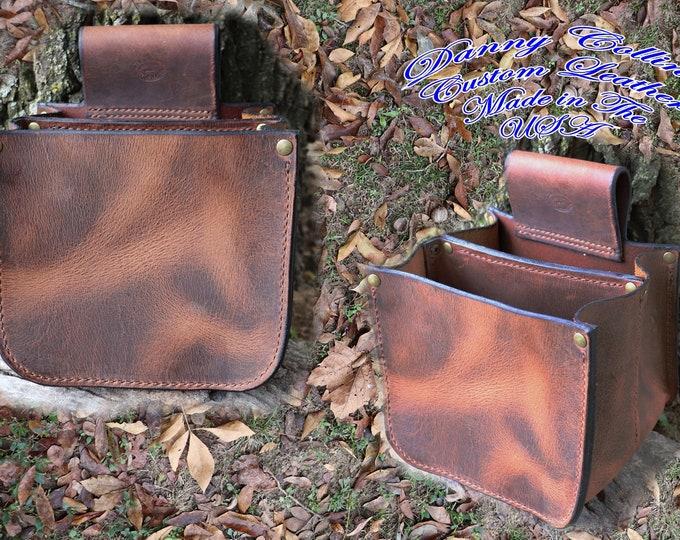 Shell Pouch, shotgun shell bag, leather shotgun shell bag, Double Box Shell Pouch, shooters bag
