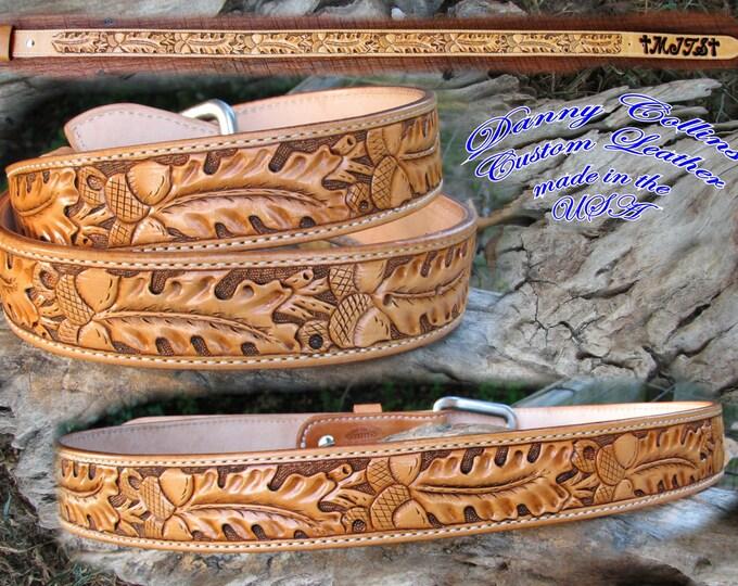 Tooled leather belts, Western Floral Belts, Hand Tooled Oakleaf and Acorn Belts