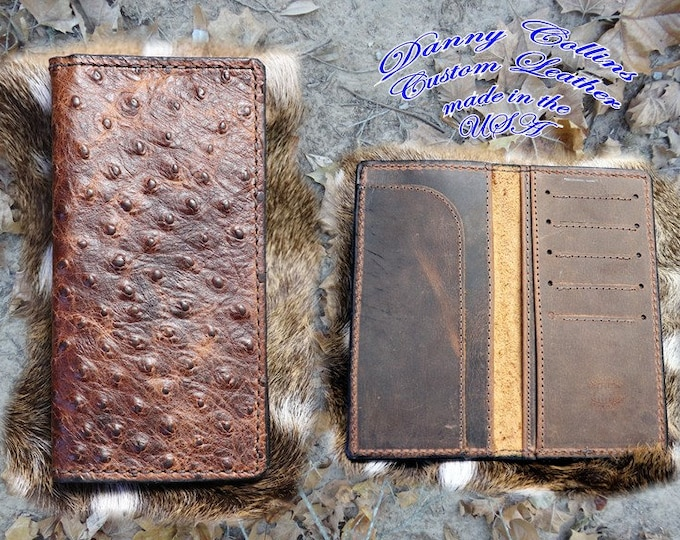Embossed Ostrich Roper Wallet, Checkbook Wallet
