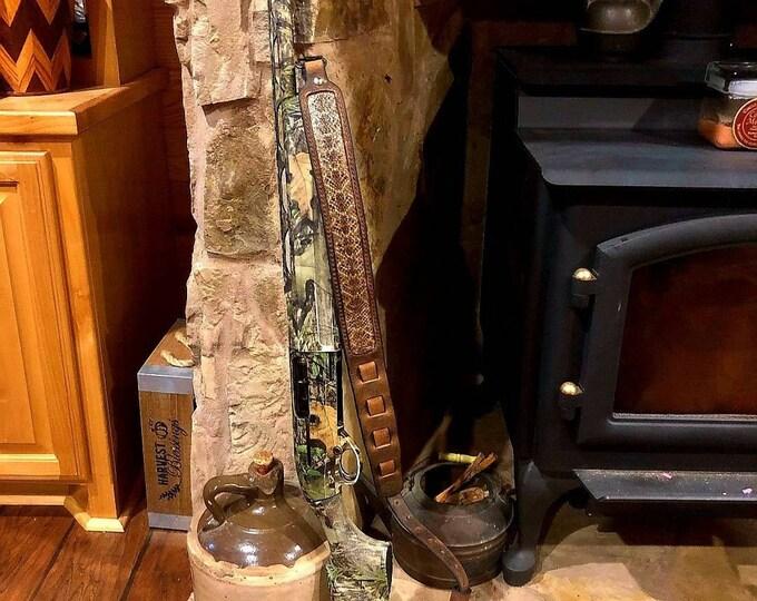 Narrow Body Buffalo Rifle Sling With Rattlesnake Inlay