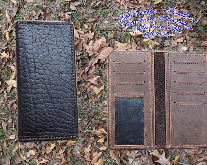 Shrunken Bison Checkbook Wallet With ID, Bison Roper wallet, Bison Long Wallet, Leather Wallet, Mens Wallet