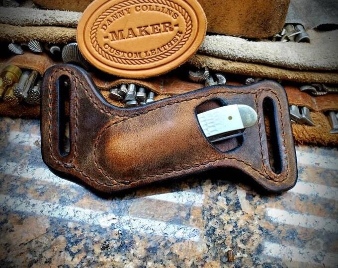 Case Mini Trapper sheath, Buffalo leather Knife Sheath, Horizontal Knife Sheath
