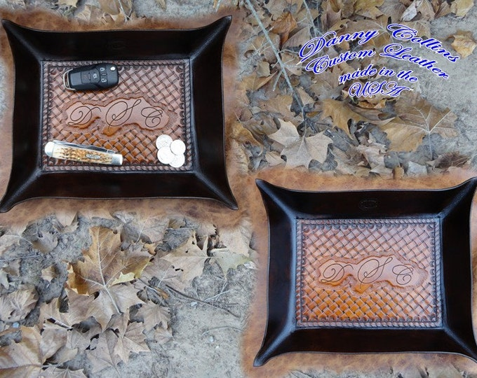 Leather Valet Tray, Tooled leather Catchall, Monogramed Leather Valet Tray