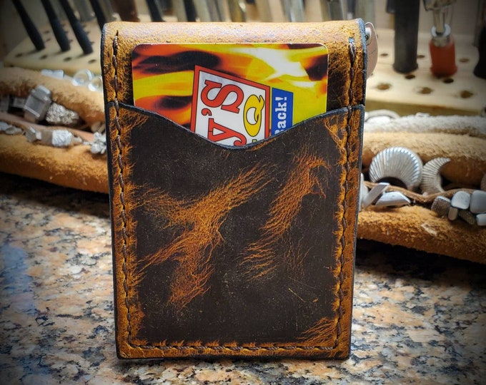 Badlands Elk Minimalist wallet, Front Pocket Wallet,  Money clip wallet, Card Wallet, Elk Leather Wallet