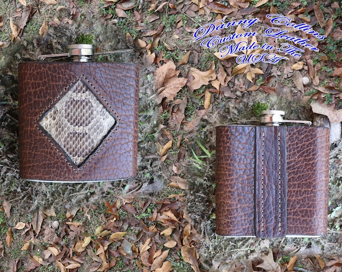 Flask, 6oz Flask with American Bison Wrap, Leather Wraped Flask