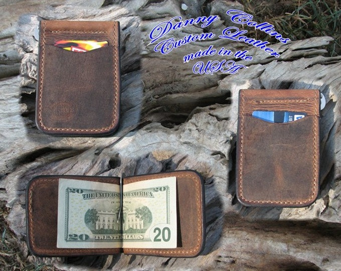 Buffalo leather Cowboy  Wallet,  Money clip