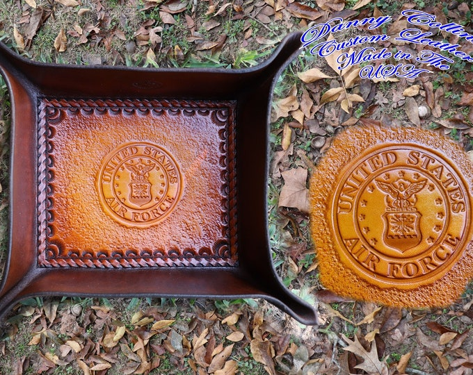 Service Branch Valet Tray, Air Force Valet Tray, Leather Valet Tray, Tooled leather Catchall, Tooled Leather Valet Tray