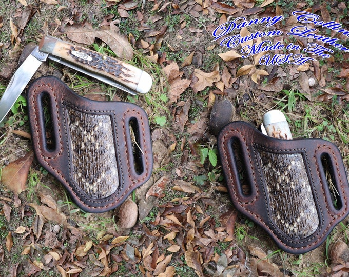 Case Trapper Buffalo Knife Sheath with Rattlesnake Inlay, Case Trapper knife Sheath, Left Side Carry