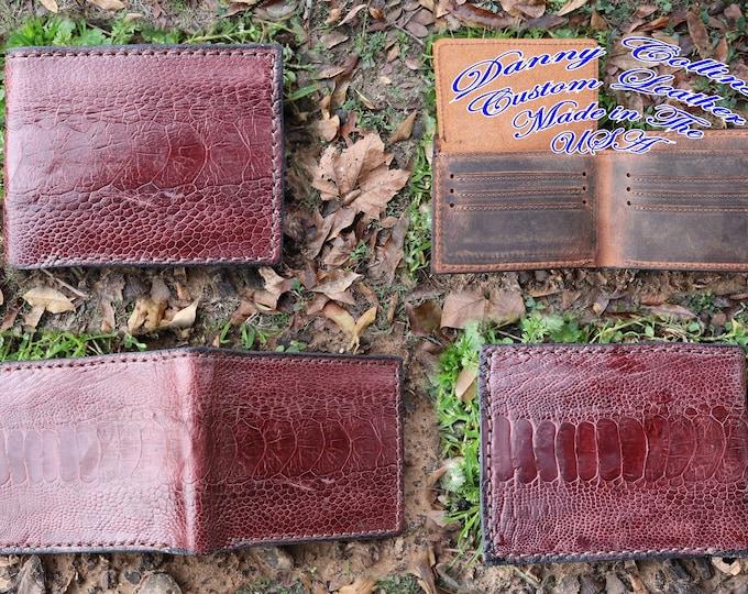 Genuine Ostrich Bi fold wallet,  Men's Ostrich wallet, Ostich Leg Wallet