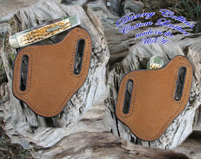 Rough out Buffalo Leather Knife Sheath, Case Trapper and Similar folding knives