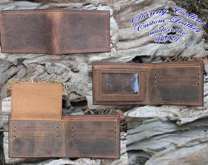 Buffalo wallet with ID, Leather bifold wallet, Mens Leather Bifold