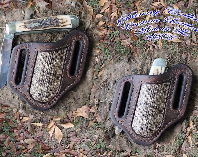 Knife Sheath, Case Trapper Buffalo Knife Sheath with Rattlesnake Inlay, Case Trapper Sheath.
