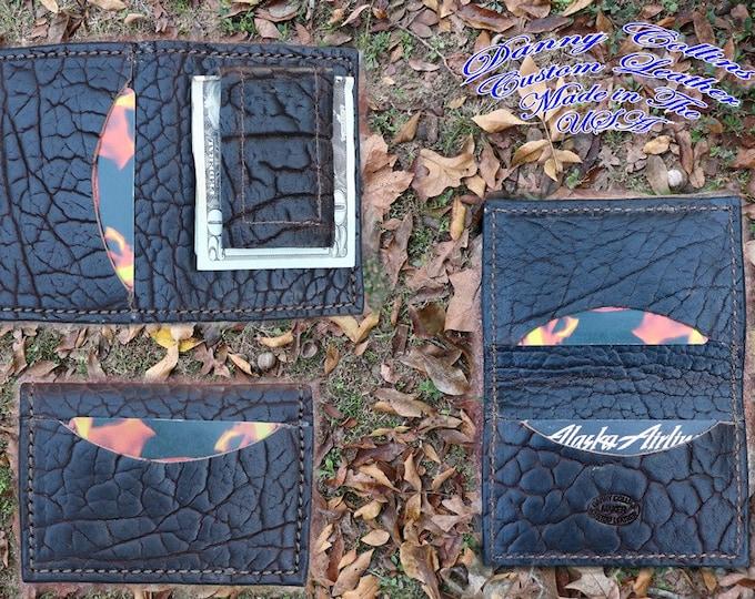 Shrunken Bison Leather Money Clip with Magnetic Clip, Bison Card wallet, Magnetic Money Clip, Leather Money Clip