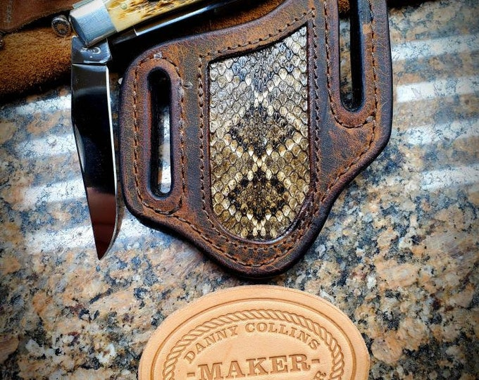 Case Trapper Buffalo Knife Sheath with Rattlesnake Inlay, Right Side Carry