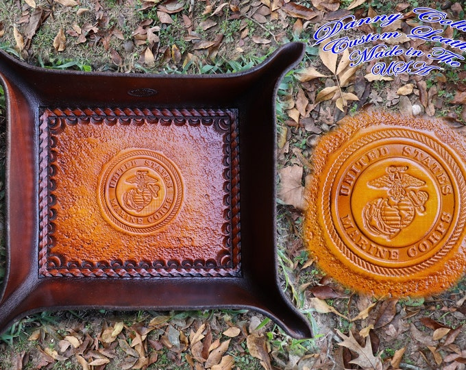 Service Branch Valet Tray, Marine Corps Valet Tray, Leather Valet Tray, Tooled leather Catchall, Tooled Leather Valet Tray