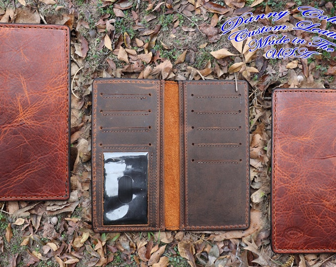 Checkbook Wallet With ID Window, Roper wallet, Long Wallet, Leather Wallet, Mens Wallet