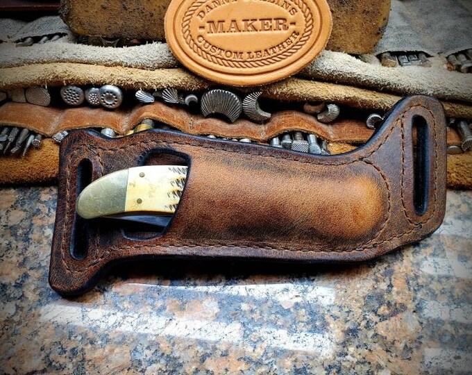 Case Folding Hunter sheath, Buffalo leather Knife Sheath, Horizontal Knife Sheath to fit the Case Folding Hunter