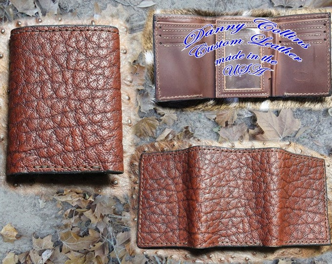 Shrunken Bull Hide Tri fold wallet, Leather Wallet, Mens Wallet
