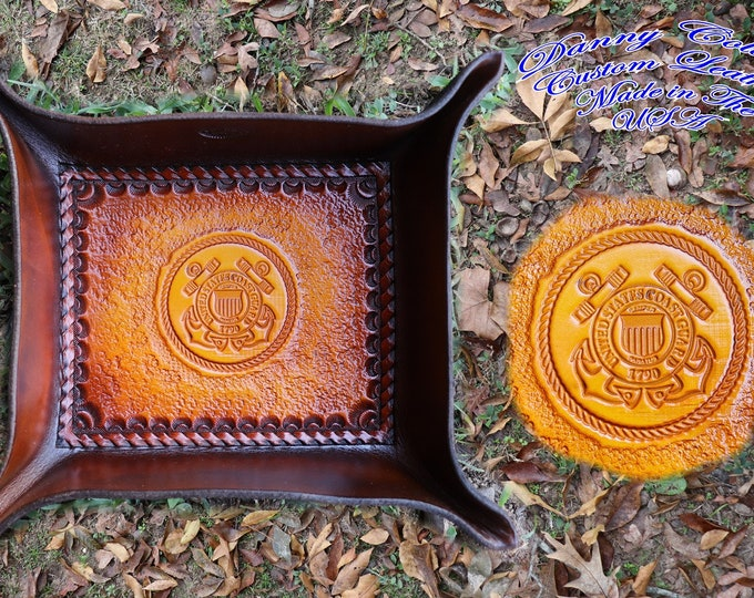 Service Branch Valet Tray, US Coast Gaurd Valet Tray, Leather Valet Tray, Tooled leather Catchall, Tooled Leather Valet Tray